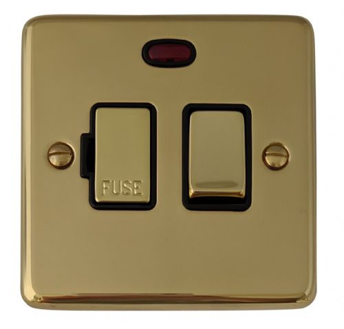 G&H CB327 Standard Plate Polished Brass 1 Gang Fused Spur 13A Switched & Neon